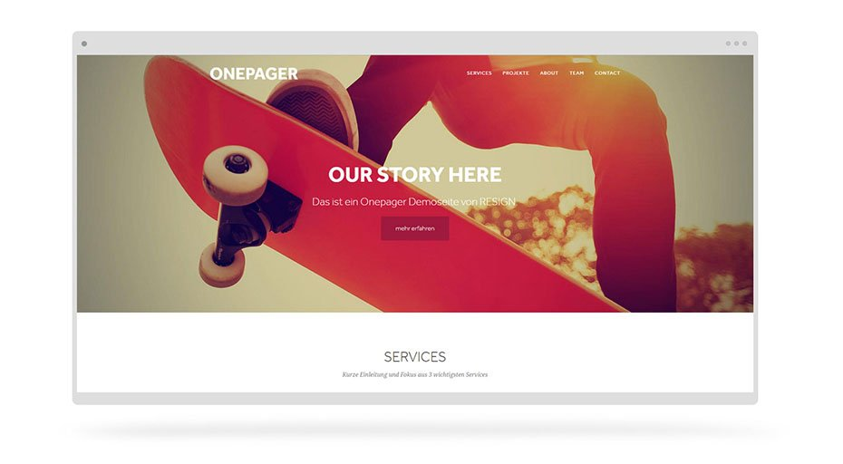 onepager webdesign