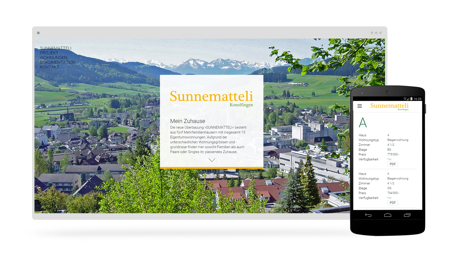Immobilien Onepage Webdesign