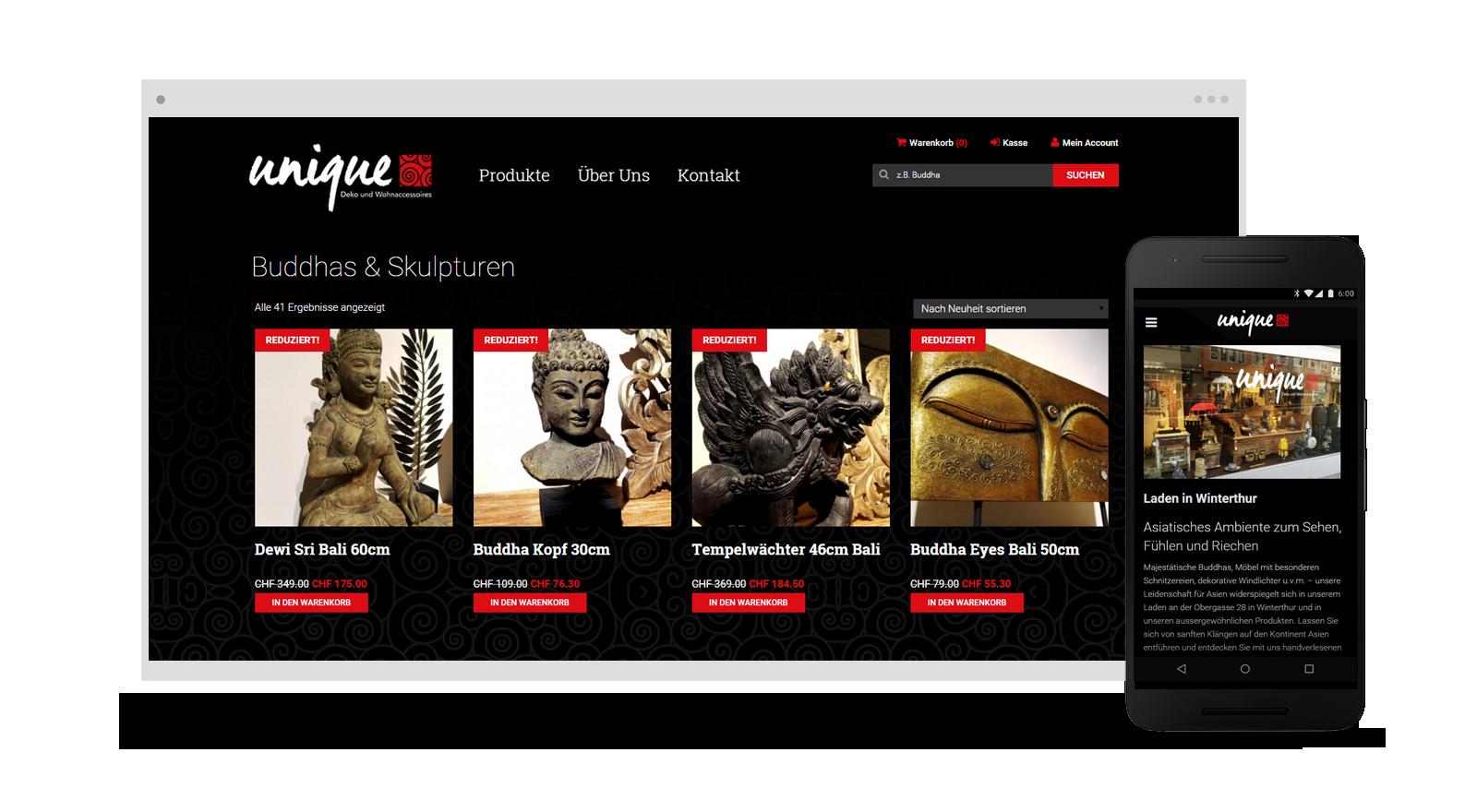 Resign onlineshop webdesign f r unique deko aus winterthur for Deko design shop